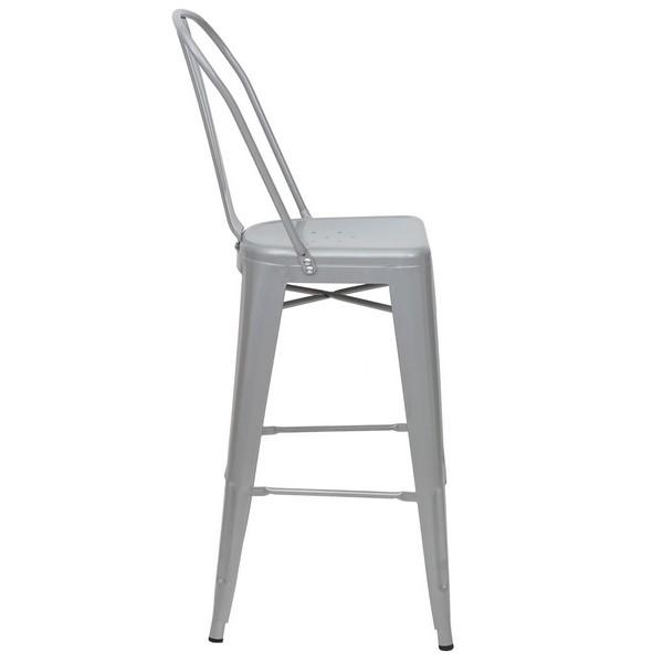 Barstol i industriel design 2 stk barstole i grå metal med